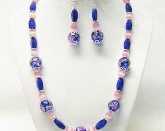 Round Blue Flower Lamp Work w/Dark Blue Rectangle Glass Bead Necklace/Bracelet/Earrings