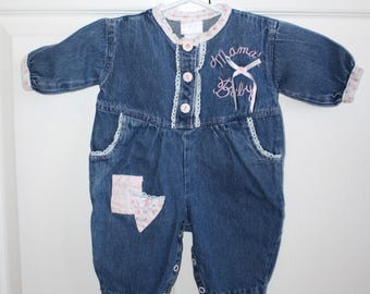 Vintage Baby Girl's Blue Jean Coverall Romper . Baby's Denim Jean Overall Pants with Pink Detail . Size 3 Months