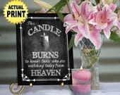Wedding Memorial Candle, watching from heaven, Religious wedding Sign, honor loved ones, candle wedding, chalkboard wedding remembrance sign