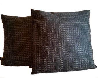 Two (2) Mid Century Modern Geometric Gray Check Pillow Covers (B3)
