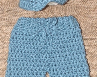Sea Blue Newborn - 3 Month Crochet Pants Britches Newsboy Hat Cap Handmade Infant Baby Photo Photography Studio Prop