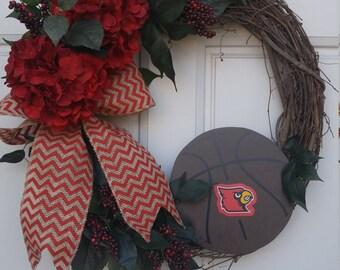 Louisville Basketball Wreath, University of Louisville Wreath, NCAA Wreath, Cardinal Wreath, Louisville Cardinal, Basketball Wreath