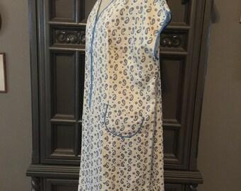 40s Paisley Cotton House Dress Zip Front