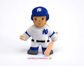 Felt  BASEBALL PLAYER, stuffed felt Baseball player magnet or ornament, Baseball player toy,Professions,Felt Doll, New York Yankees player