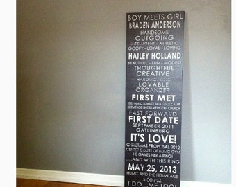 12 x 40 personalized Couple Story,  Love Story Timeline, Subway Scroll, Vintage bus scroll, art wall decor, Wedding Sign,