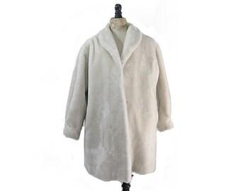 1980 Paris faux fur white long Coat /80s faux fur coat