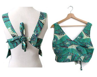 Vintage african print Bodice cotton/ african crop top naked back