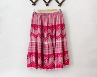1970s indian gauze Skirt René Derhy M / 70s indian skirt
