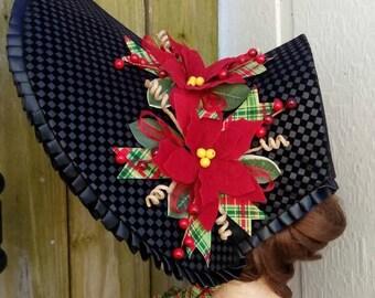 Black Christmas Caroling bonnet #18