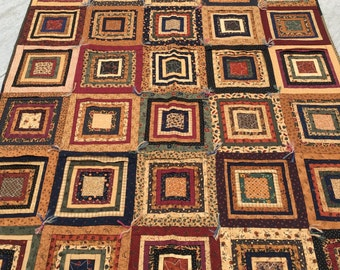 Pleated Log Cabin Quilt, Kansas Troubles, log cabin, 48x58 inches, sofa quilt, quilt, blue, brown, gold, red, handmade, Material Things