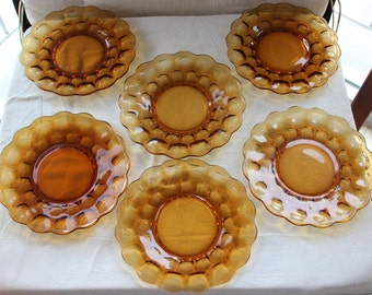 "Retro Amber Salad Plates 8"" set of 6"