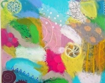 original, abstract, colorful painting on canvas, slow morning, happiness, modern art, contemporary art