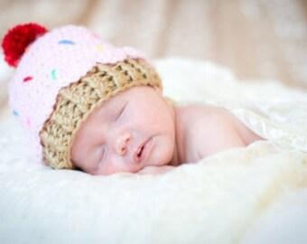 Crochet baby beanie CUPCAKE hat  premie newborn 0-3 month infant  boy or girl photo prop pink blue purple yellow brown white