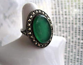 Sterling Chrysophrase Ring with Marcasites, Vintage Art Deco Oval Design, Translucent Open Stone, 6 Grams Petite Size