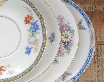 Mismatched Vintage Dessert Plates Set of 4 Mix Matched Salad Plates for Wedding Side Plates Replacement China