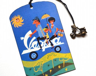 Mini Bookmark with Bronze Pendant - Vintage Poster - Vespa - Handmade