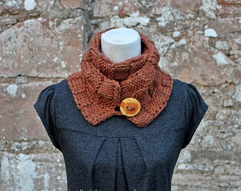 Scarf PATTERN knitting - womens Bronze skinny button scarf - Listing93