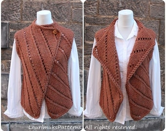 Knitting PATTERN - The Bronze wrap, womens sleeveless jacket, cardigan - Listing142