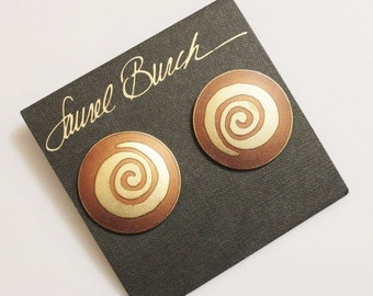 Xmas SALE Big Bold Vintage Studs By Laurel Burch, Gold Spiral Earrings