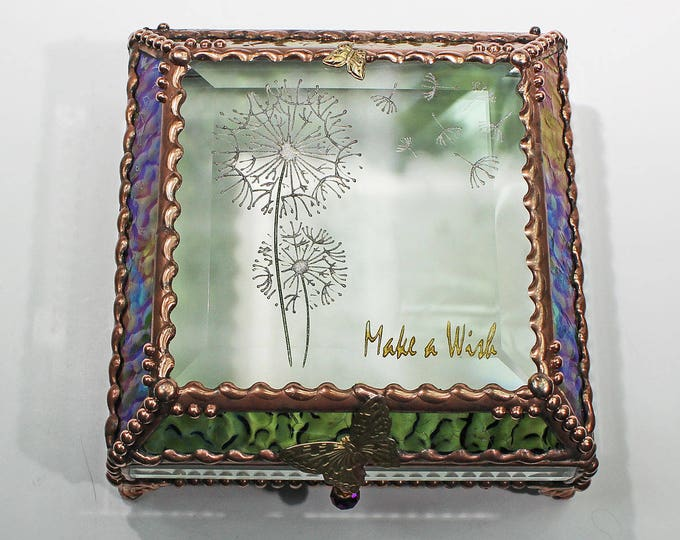 Etched, Hand Painted, Make a Wish, Dandylion, Stained Glass Box, Jewelry Box, Jewelry Storage, Memory Box, Dandy lion