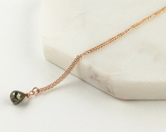 Rose gold filled pyrite drop necklace