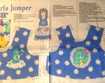 Fabric jumper bodice and pocket girls sizes 2 4 6 8 new Care Bears instructions
