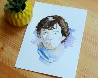Sherlocked Original Watercolor with Gold Ink