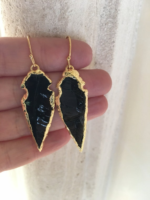 Obsidian Arrowhead Earrings