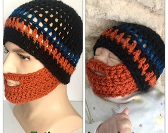 Father and son matching beard hats Baby boy orange ginger crocheted knitted hippie beanie designer kids newborn gift bearded lumberjack dadd