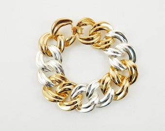 Chunky Gold and Silver Chain Link Bracelet