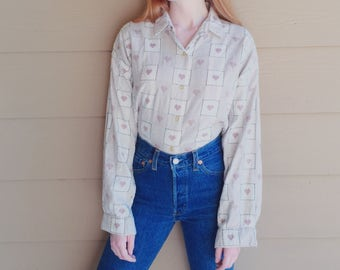 Oversized 90's Plaid Hearts Oxford Shirt // Women's size Small S