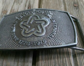 Vintage American Revolution Bicentennial Commemorative Belt Buckle 1976