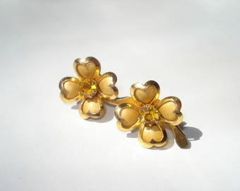 Vintage Gold Coro Earrings - Small Four Leaf Clover Amber Rhinestone  Jewelry 1960s