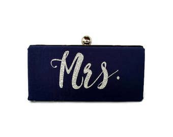 Blue Monogrammed wedding purse/ Navy Blue minaudiere clutch /Something blue bridal purse /Personalized Gift for her/ Custom made purse