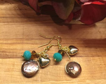 Earrings, Bronze Coin Pearl, Gold Tone drop heart, turquoise Czech glass bead, Brown Rondell Crystal, Free Shipping #76