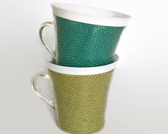 Vintage Rattan Thermal Plastic Mugs, Picnic Cups Mid Century Summertime Serving Drinkware