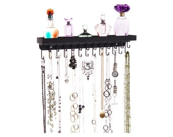 Necklace Holder Wall Mount Jewelry Organizer Storage Rack Necklace Organize Display a great way to declutter your jewelry box & drawers