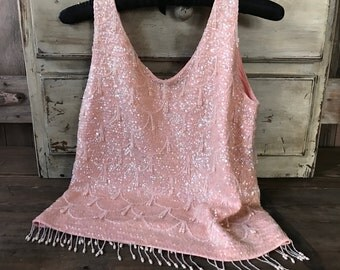 1950s Classic Pink Beaded Sequins Shell Top, Pearls, Wedding, Bridal, Mother of the Bride, Mad Men, Vintage Hollywood