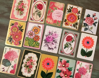 Swap Cards / 15 Vintage Flower Swap Cards Great for Altered Art, Mixed Media, Smash Books, Journals, etc.
