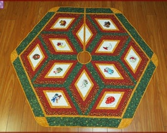 Embroidered Christmas Tree Skirt Quilt 545