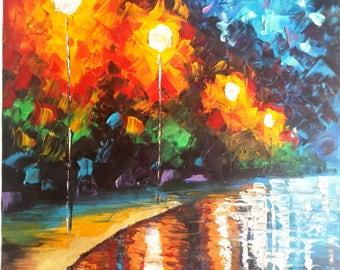 Original Oil Painting 28 x 20 - Rainbow Painting Palette Knife Night Romantic Colorful Lanterns Rain Street Canvas Impasto Textured Art