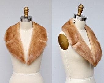 Vintage Mink Fur Collar Shawl - Mid Century - Blonde Ivory Light Brown Mink Fur Collar - 30s 40s Collar Fur Coat Jacket Glam Cocktail LARGE