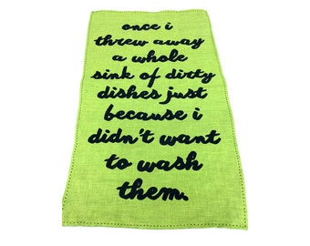 green linen threw away the dishes tea towel
