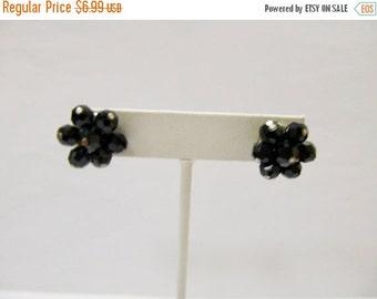 On Sale Retro Facetted Black Glass Cluster Earrings Item K # 1228