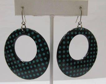 On Sale Retro Black and Green Polka Dot Dangle Earrings Item K # 2244