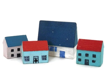 Miniature Wooden Houses with Red and Blue Roof  Erzgebirge Germany Wood Carving Micro Primitive Miniature Village