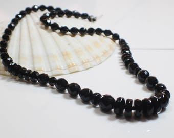Vintage Black Beaded French Jet Necklace Graduated  Faceted Beads