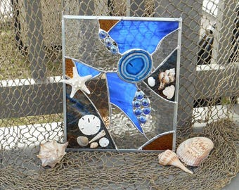 Stained Glass Ocean Sun Catcher embellished with seashells, starfish & Sand Dollars