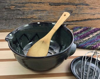 Ceramic Mixing Bowl / Handmade Pottery Whisking Bowl / Antique Blue Brown Batter Bowl