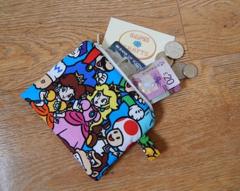 Small colourful Nintendo character print zipper coin purse pouch